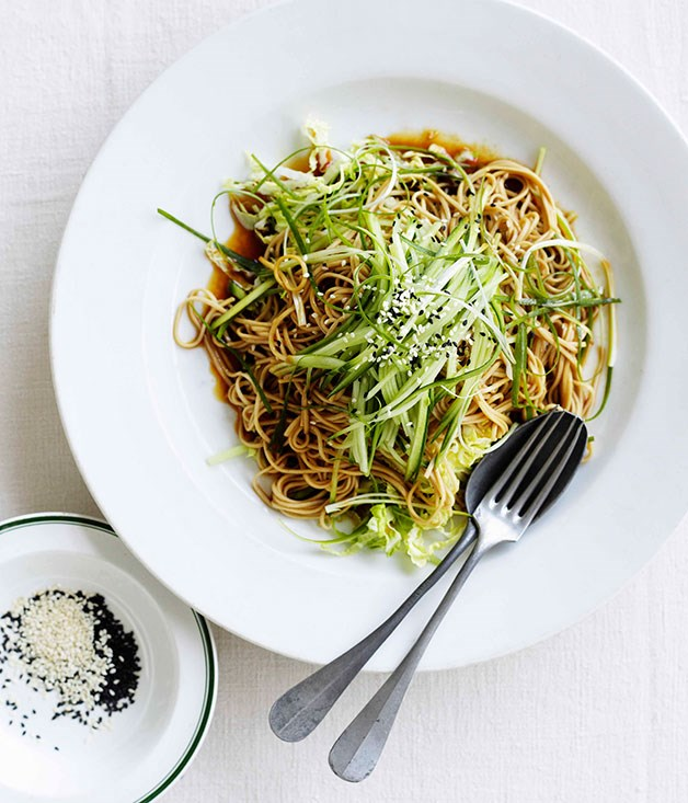 "[Soba noodles with Chinese cabbage, cucumber and young ginger](https://www.gourmettraveller.com.au/recipes/fast-recipes/soba-noodles-with-chinese-cabbage-cucumber-and-young-ginger-13084|target=""_blank"")"