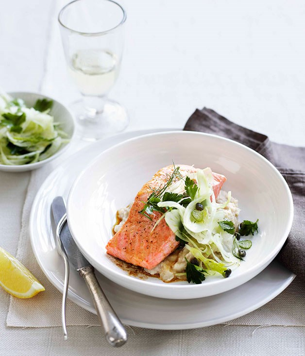 **Roast ocean trout with white bean purée and fennel salad** **Roast ocean trout with white bean purée and fennel salad**    [View Recipe](http://gourmettraveller.com.au/roast-ocean-trout-with-white-bean-pure-and-fennel-salad.htm )     PHOTOGRAPH **BEN DEARNLEY**