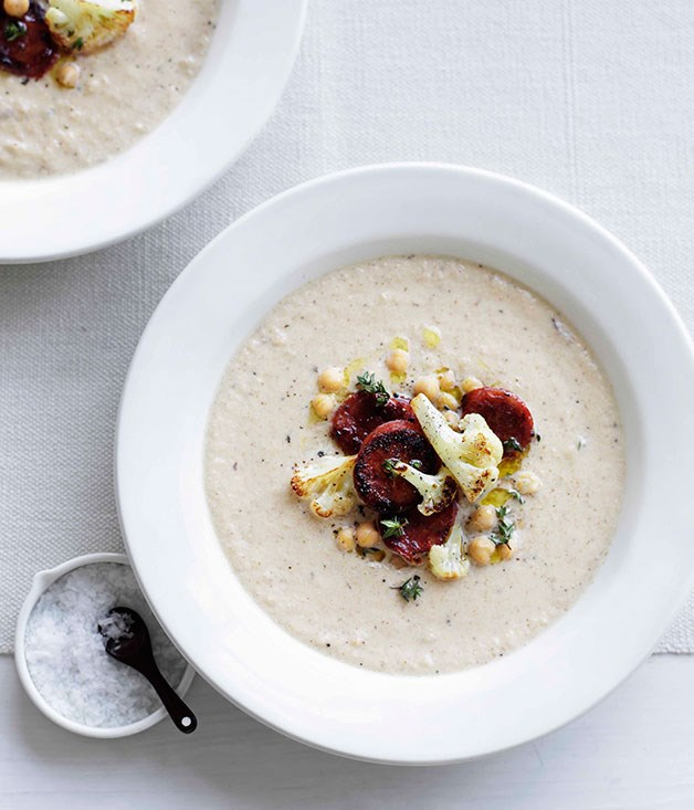 **[Roast cauliflower soup with chickpeas and chorizo](http://www.gourmettraveller.com.au/roast-cauliflower-soup-with-chickpeas-and-chorizo.htm)**