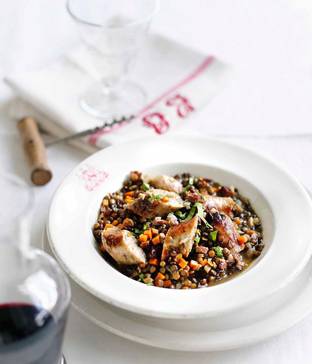 **Sausage with green lentils** **Sausage with green lentils**    [View Recipe](http://www.gourmettraveller.com.au/sausage-with-green-lentils.htm)     PHOTOGRAPH **BEN DEARNLEY**