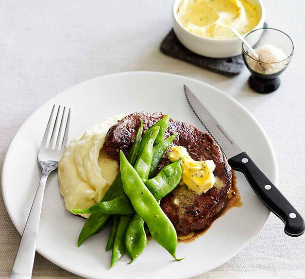 Scotch fillet with mash and rosemary butter