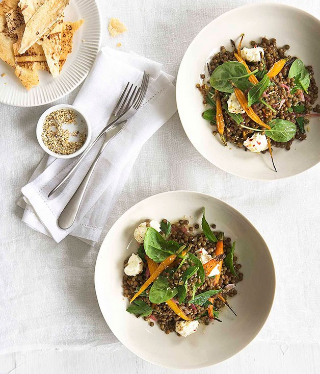Warm roast carrot, lentil and labne salad with crisp flatbread