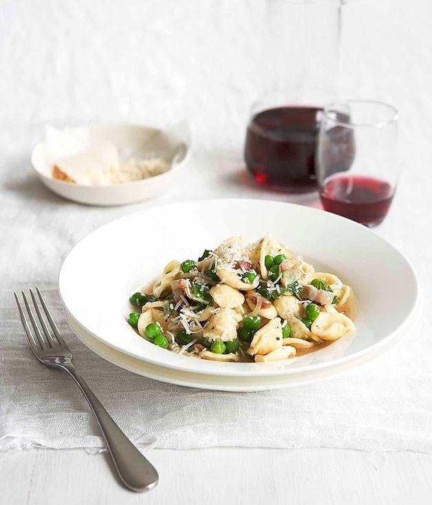 Pea, pancetta and mint orecchiette