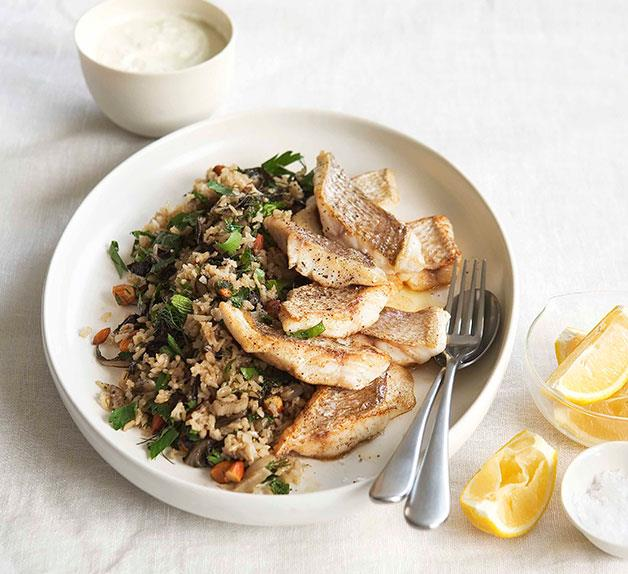 Snapper with silverbeet, herb and almond pilaf