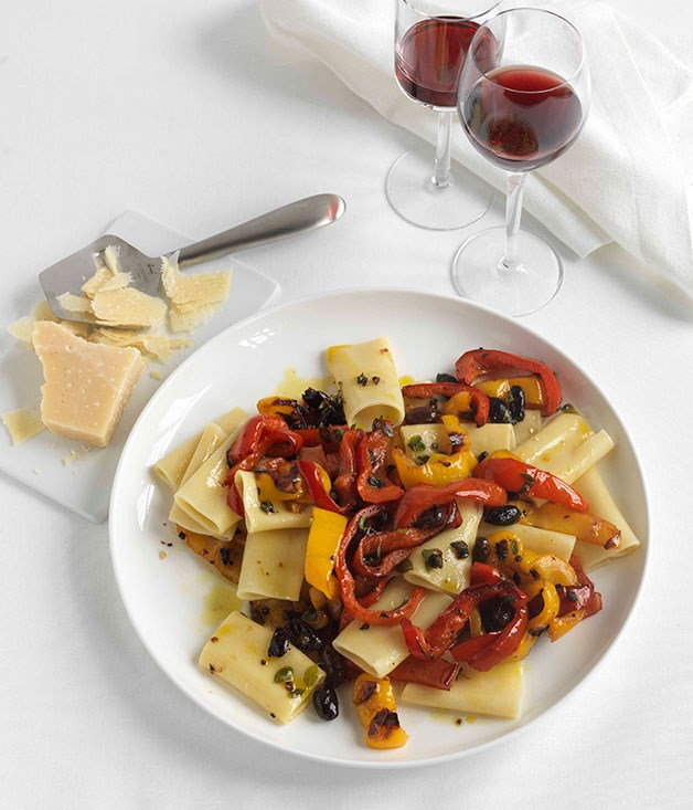 Paccheri with quick-roasted peppers