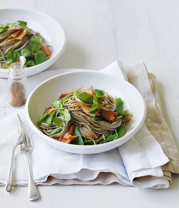 Soy-roast ocean trout with peas and soba noodles