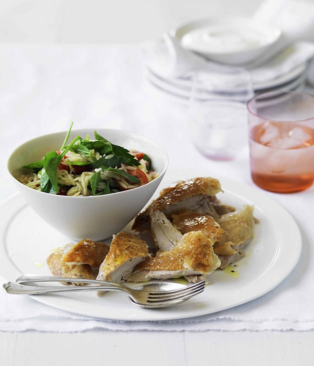 Roast chicken with risoni and herb salad