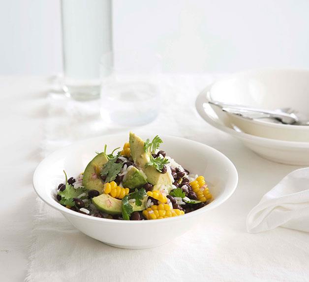 Blackbean, corn and avocado salad with tomatillo