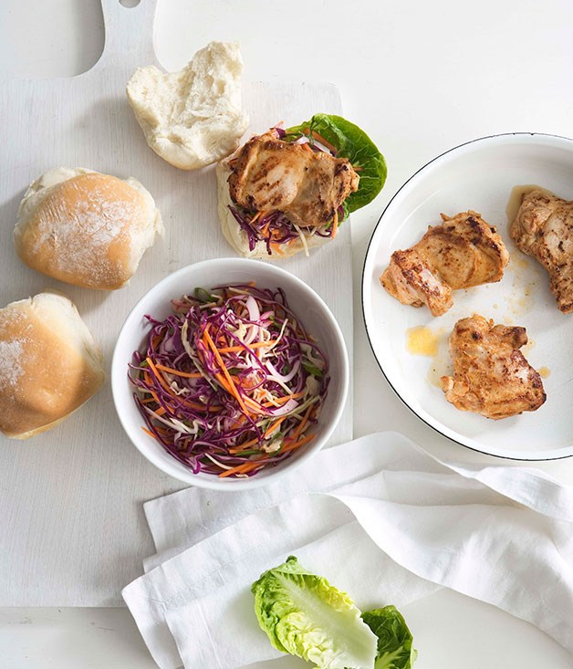 Paprika chicken and coleslaw rolls