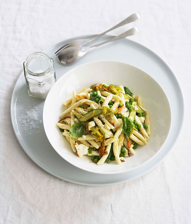 Zucchini flower, lemon and ricotta strozzapreti
