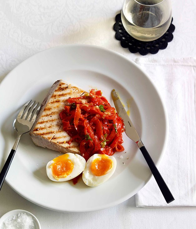 Chargrilled swordfish, capsicum salad and soft-boiled egg