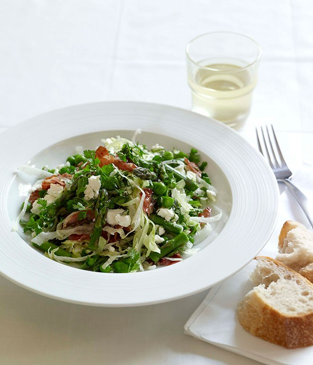 Goats' cheese, asparagus, pea and pancetta salad