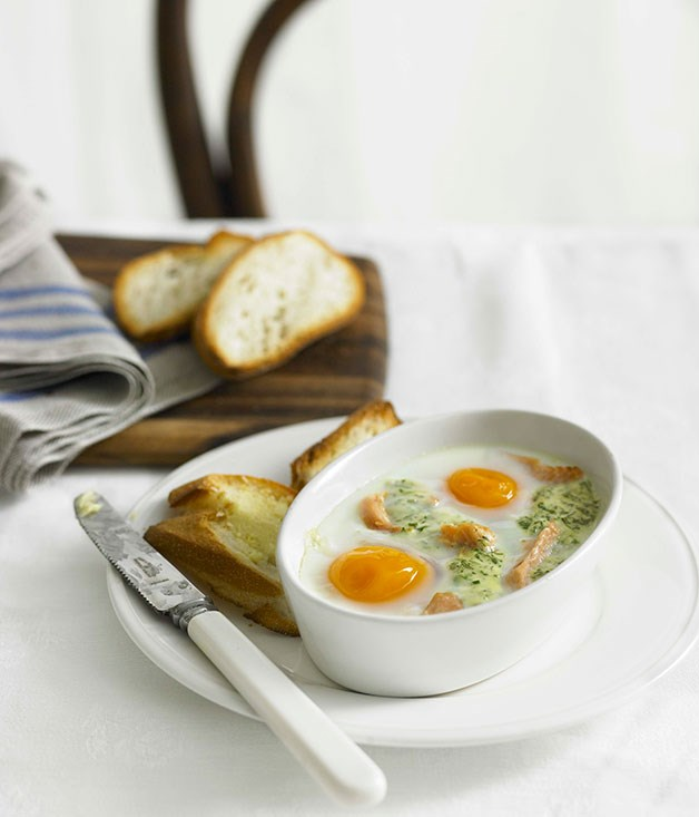 Eggs en cocotte with smoked trout