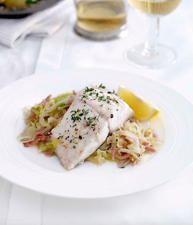 Blue-eye trevalla with bacon and cabbage