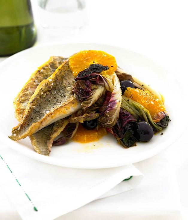 Roast bream with orange and radicchio
