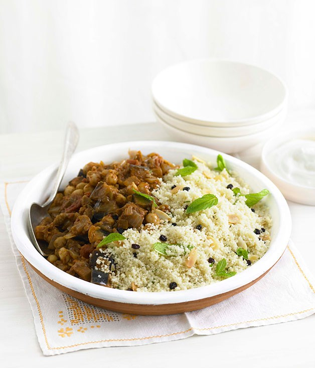 Eggplant and chickpeas with minted couscous