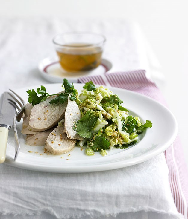 White-cooked chicken with ginger-sesame Chinese cabbage salad