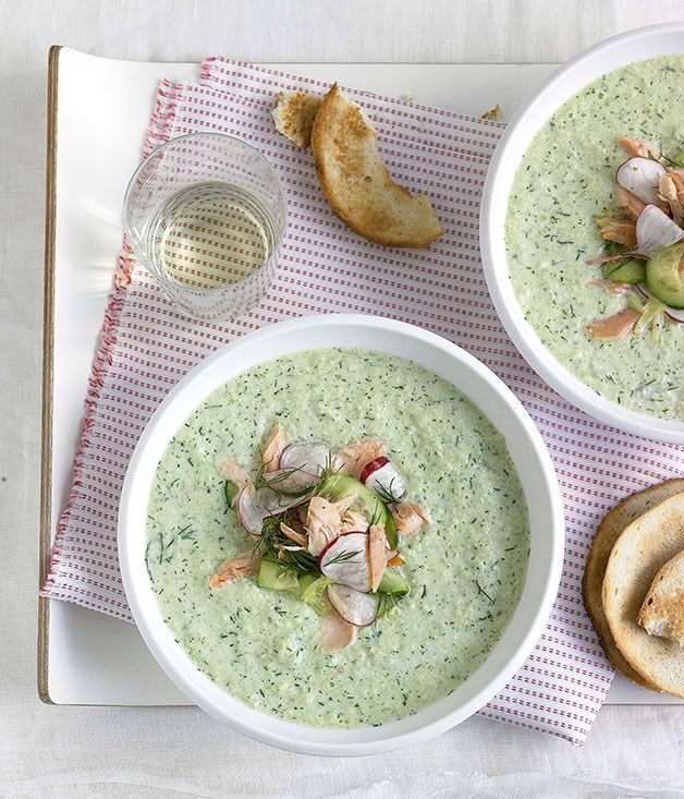 Chilled cucumber and dill soup with smoked trout