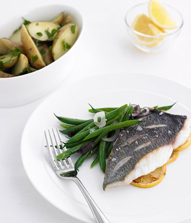 Roasted blue-eye trevalla with green bean and olive salad