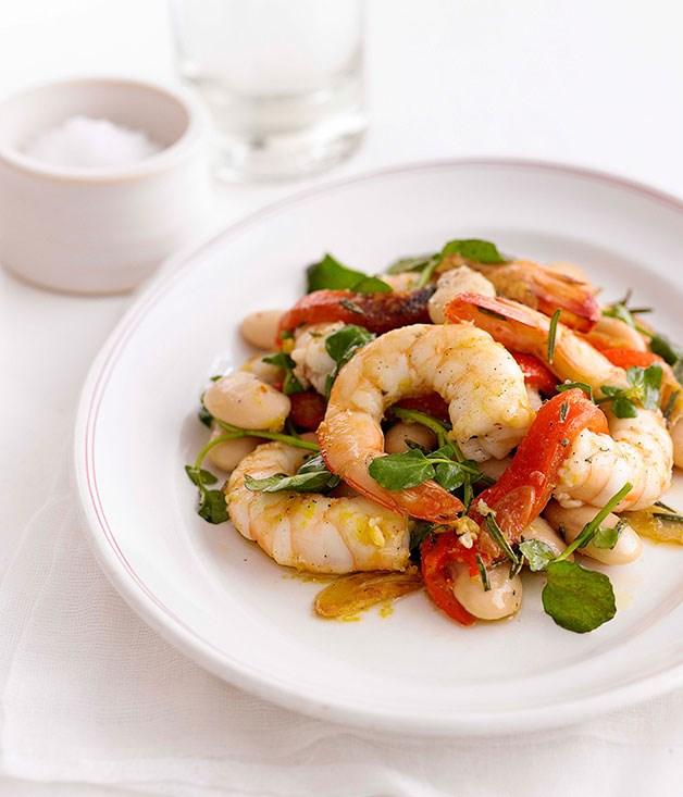Garlic and rosemary prawns with white beans