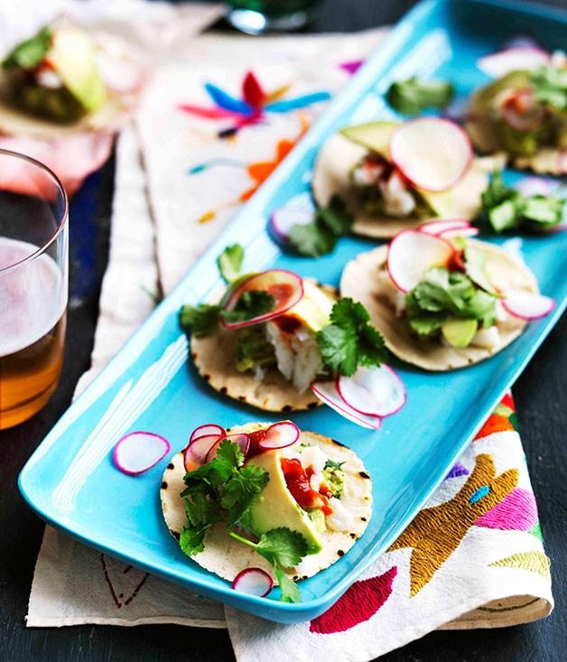 Mini guacamole and crab tacos