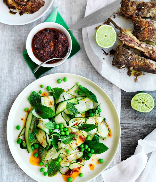 Zucchini, pea and mint salad with spiced lamb ribs