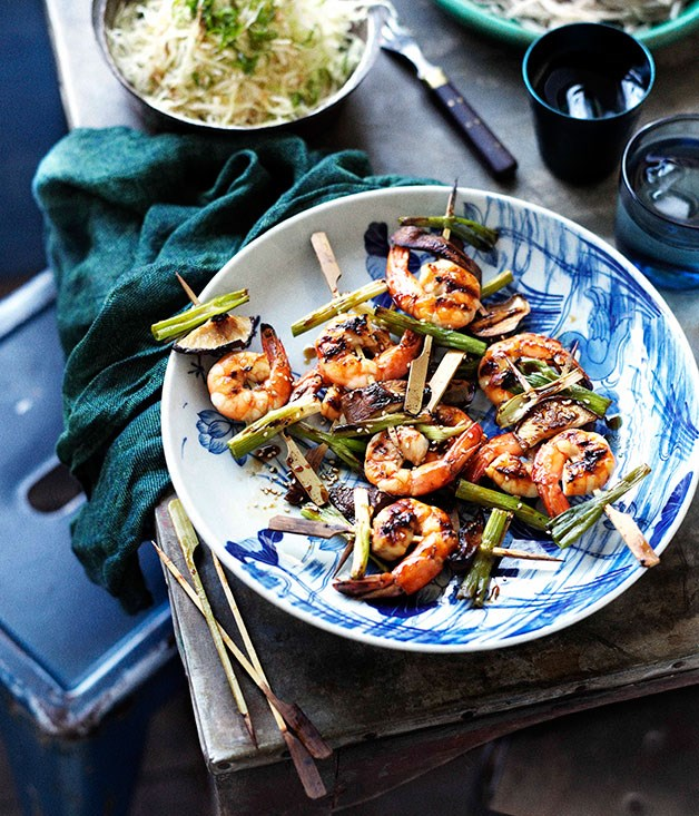 "[**Soy-glazed barbecued prawns with cabbage and daikon salad and chilled soba**](https://www.gourmettraveller.com.au/recipes/browse-all/soy-glazed-barbecued-prawns-with-cabbage-and-daikon-salad-and-chilled-soba-13913|target=""_blank"")"