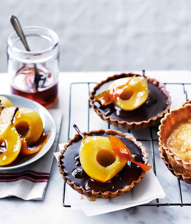 Chocolate ganache tartlets with muscat-poached pears