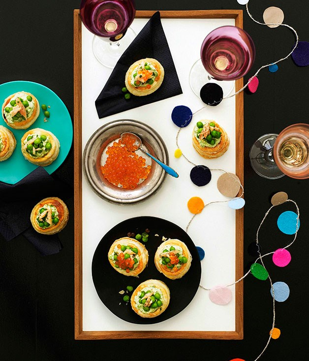 Pea and smoked trout vol-au-vents with salmon roe