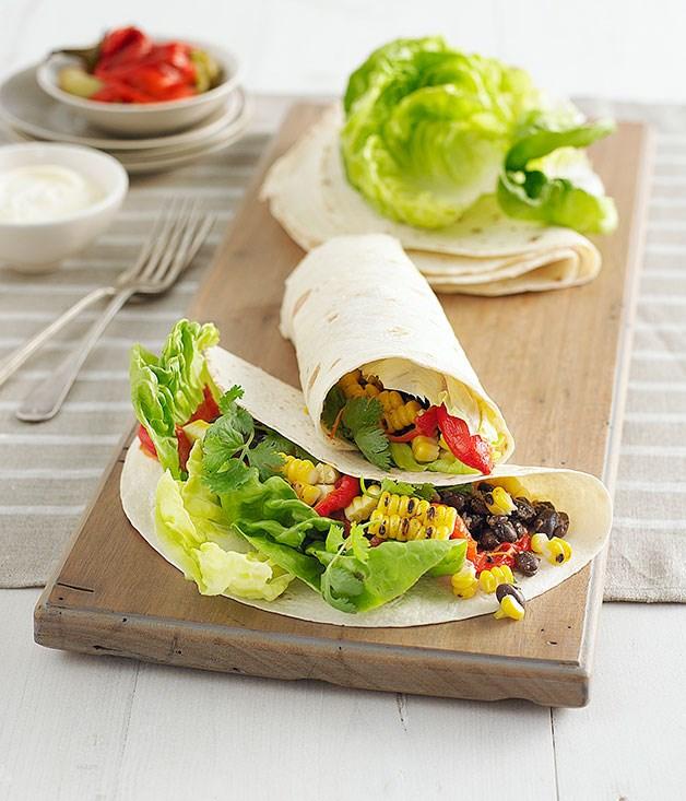 Sweetcorn and black bean burritos