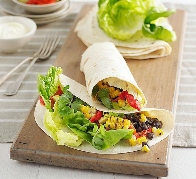 Sweetcorn and black bean burritos