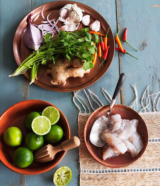 "**[Ceviche classico with leche de tigre](https://www.gourmettraveller.com.au/recipes/browse-all/ceviche-classico-with-leche-de-tigre-14188|target=""_blank"")**"