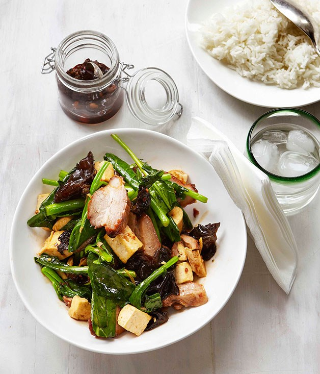 Stir-fried greens with char siu