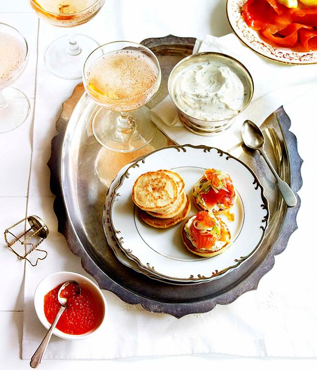 "**[Blini with smoked trout, herbed crème fraîche and fennel](https://www.gourmettraveller.com.au/recipes/browse-all/blini-with-smoked-trout-herbed-creme-fraiche-and-fennel-salad-14148|target=""_blank"")**"