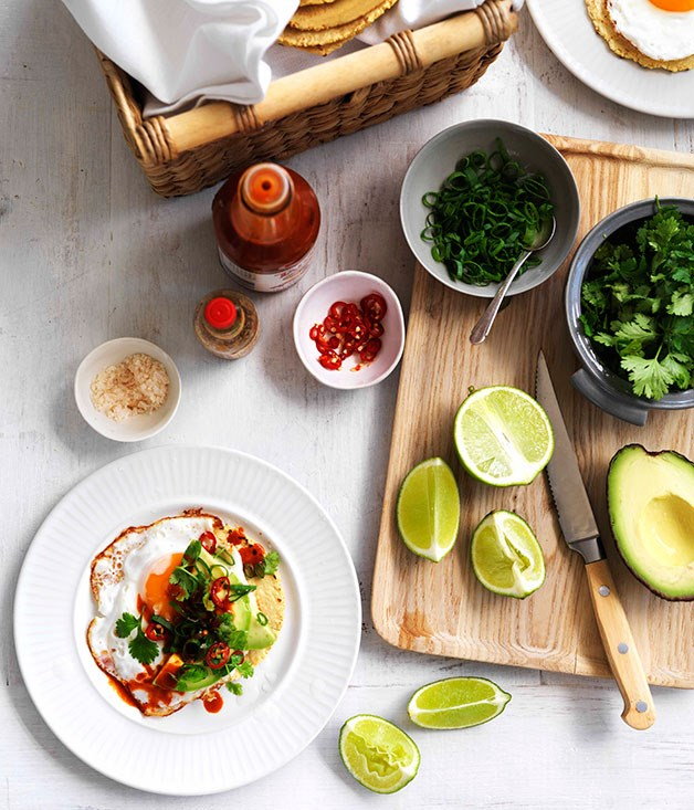 **Fried egg, avocado and chilli tacos**