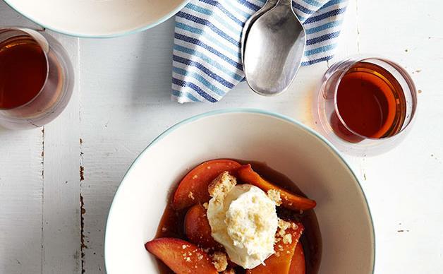 Muscat and orange glazed peaches with mascarpone and crumbled amaretti