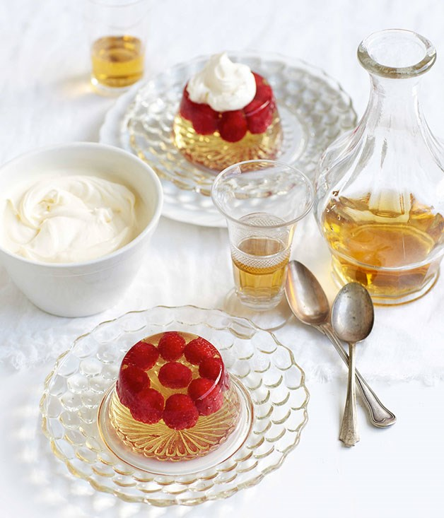 **Champagne jelly with raspberries** **Champagne jelly with raspberries**    [View Recipe](http://gourmettraveller.com.au/champagne-jelly-with-raspberries.htm)     PHOTOGRAPH **VANESSA LEVIS**