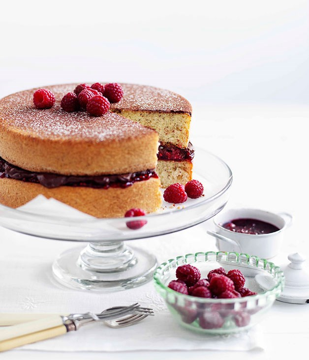 **Hazelnut sponge with chocolate-raspberry cream** **Hazelnut sponge with chocolate-raspberry cream**    [View Recipe](http://gourmettraveller.com.au/hazelnut-sponge-with-chocolate-raspberry-cream.htm)     PHOTOGRAPH **BEN DEARNLEY**