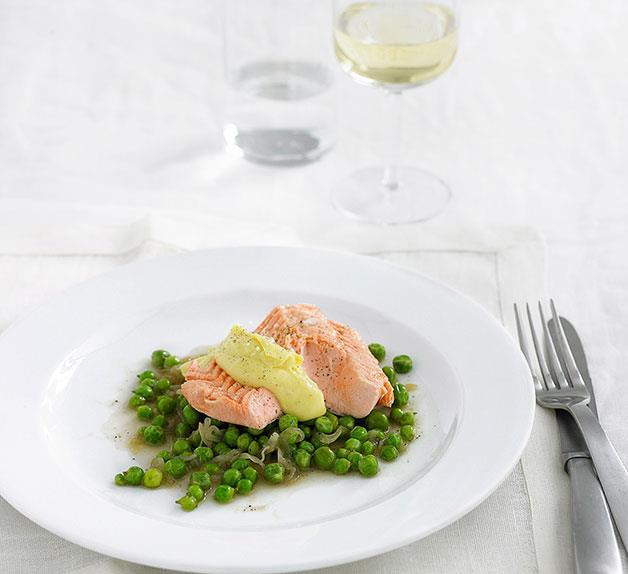 Poached ocean trout with hollandaise and peas