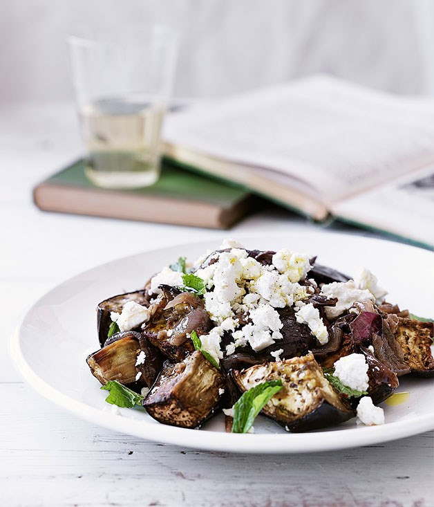 Eggplant, goat's cheese and spiced onion salad