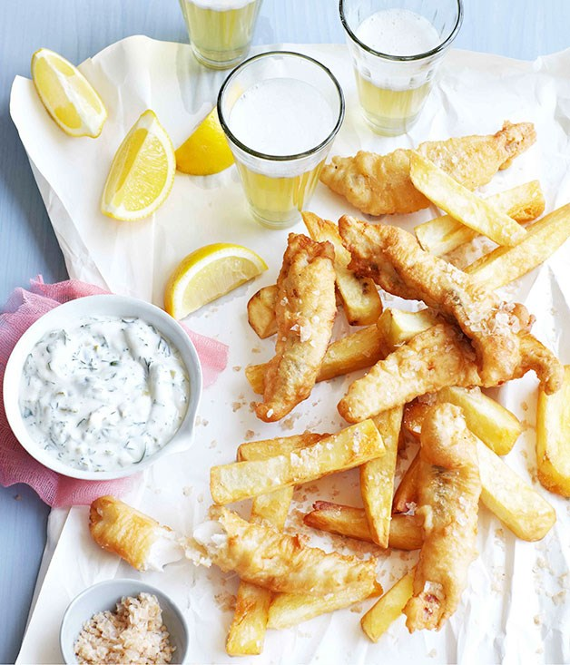 **Beer-battered flathead with salt and vinegar chips**