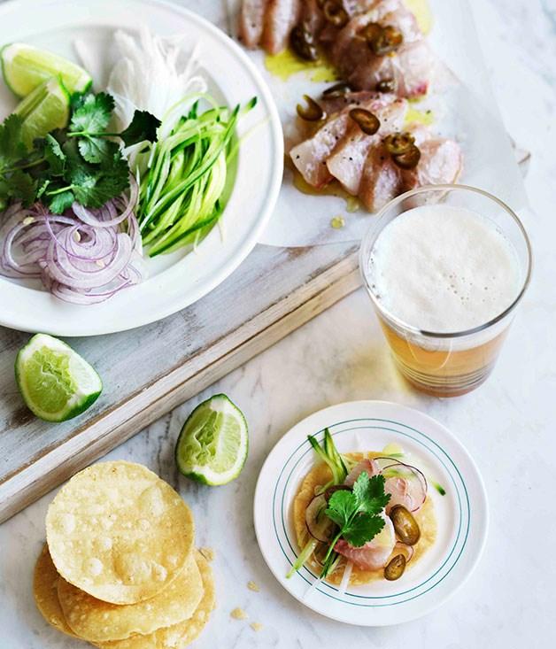 **Kingfish, cucumber, jicama and pickled jalapeño tostadas**