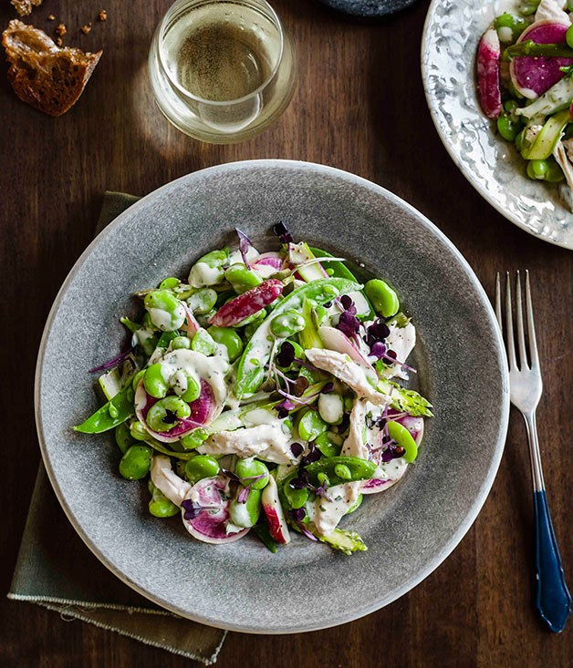 "[**Poached chicken, broad bean, radish and young garlic salad**](https://www.gourmettraveller.com.au/recipes/browse-all/poached-chicken-broad-bean-radish-and-young-garlic-salad-14313|target=""_blank"") <br><br> The creamy garlic dressing in this salad takes it to whole new level of amazing. Pair it with a glass of a Tasmanian riesling for the perfect dinner combination."