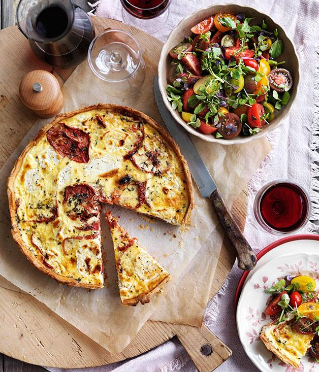 """[**Roast heirloom tomato and goat's curd tart**](https://www.gourmettraveller.com.au/recipes/browse-all/roast-heirloom-tomato-and-goats-curd-tart-14320