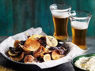 Homemade chips with India pale ale