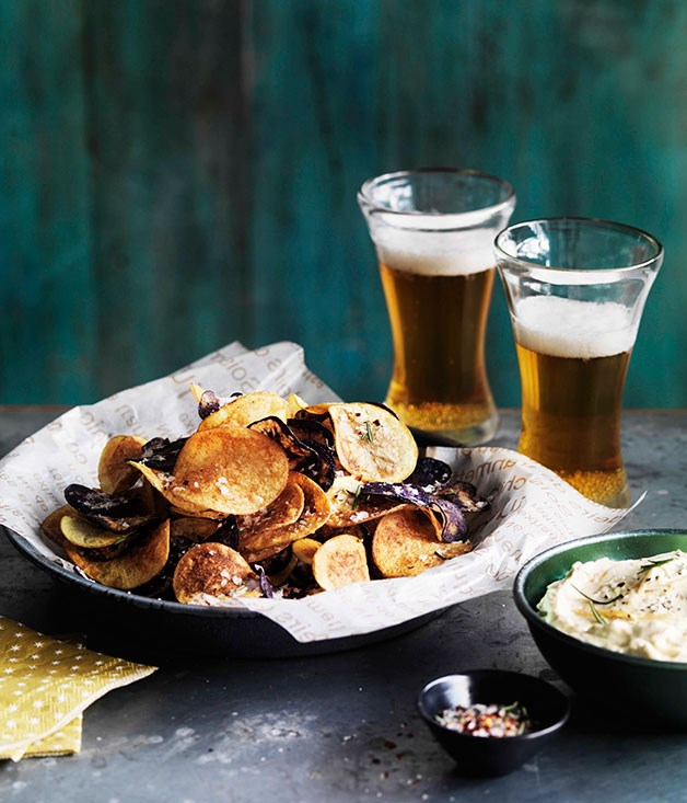 **Homemade potato chips with onion, ricotta and feta dip** **Homemade potato chips with onion, ricotta and feta dip**    [View Recipe](http://www.gourmettraveller.com.au/homemade-chips-with-india-pale-ale.htm)     PHOTOGRAPH **WILLIAM MEPPEM**