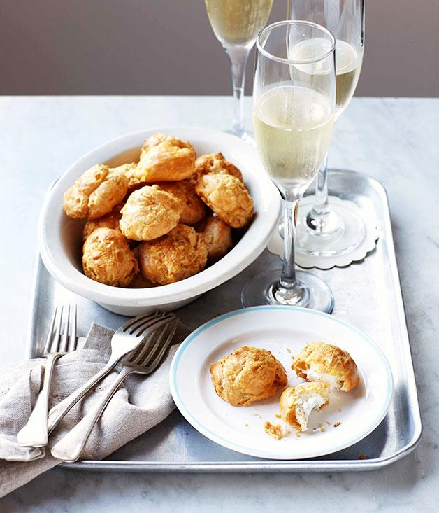 **Thyme and Gruyère gougères with whipped goat's curd** **Thyme and Gruyère gougères with whipped goat's curd**    [View Recipe](http://gourmettraveller.com.au/thyme-and-gruyere-gougeres-with-whipped-goats-curd.htm)     PHOTOGRAPH **VANESSA LEVIS**
