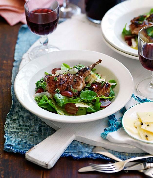 Grilled vincotto quail with grape, pecorino pepato and thyme salad