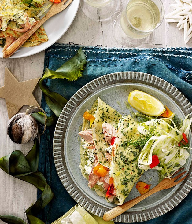 **Herb crêpes stuffed with ricotta and smoked trout**
