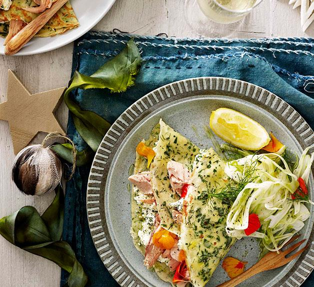 Herb crêpes stuffed with ricotta and smoked trout